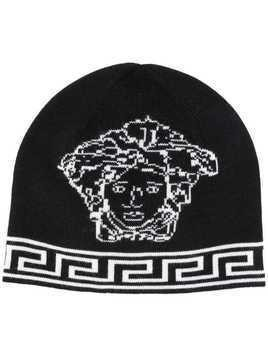 Versace Medusa logo knitted hat - Black