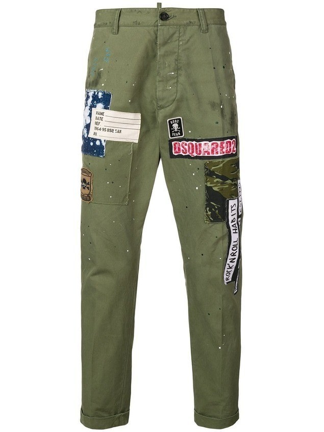 Dsquared2 logo patch chinos - Green