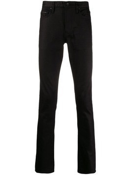 John Varvatos leather straight leg trousers - Black