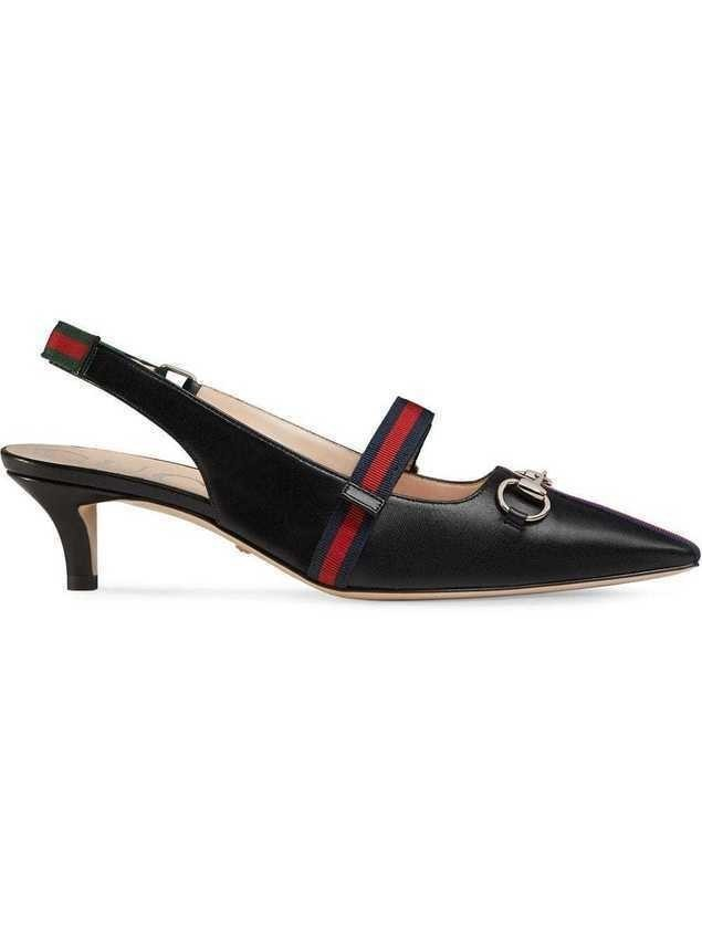 Gucci Mid-heel pump with Web - Black