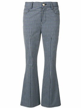 Derek Lam 10 Crosby cropped check flare trousers - Blue