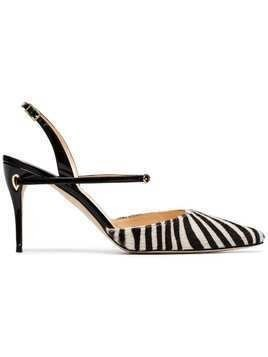 Jennifer Chamandi black and zebra Vittorio 85 slingbacks