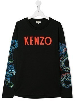 Kenzo Kids TEEN logo long sleeve top - Black