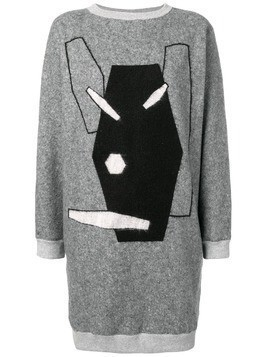 Julien David embroidered sweater dress - Grey
