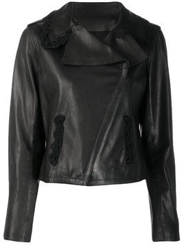 Chanel Pre-Owned off-centre front leather jacket - Black