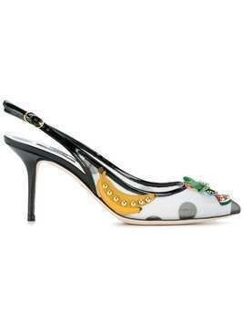 Dolce & Gabbana fruit embellished kitten heel slingback pumps - Black