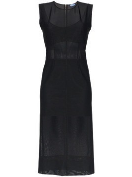 Mugler Sleeveless Sheer Midi-Dress - Black