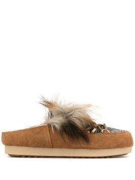 Moon Boot fur loafer-mules - Brown