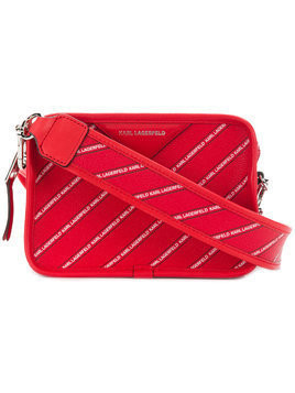 Karl Lagerfeld striped logo crossbody bag - Red