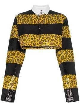Charm's sequin embellished leopard print cropped shirt - Yellow