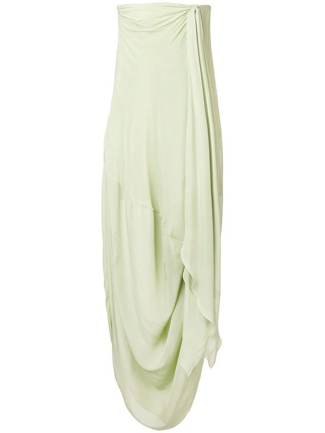 Jacquemus draped strapless dress - Green