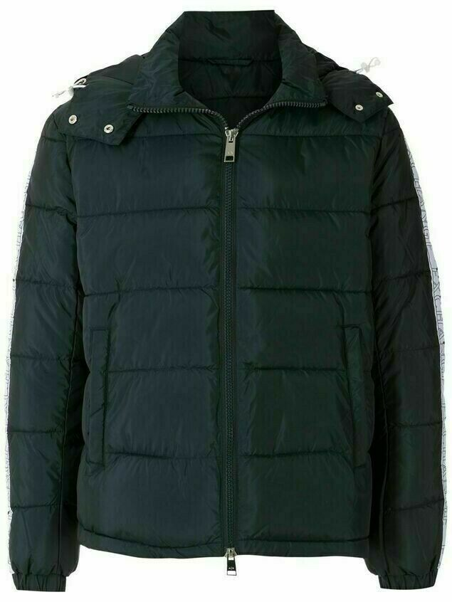 Armani Exchange padded logo-tape coat - Blue