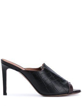 L'Autre Chose crocodile-embossed 90mm mules - Black