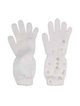 Monnalisa faux pearl embellished gloves - Neutrals