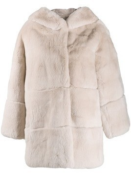 S.W.O.R.D 6.6.44 hooded shearling coat - Pink