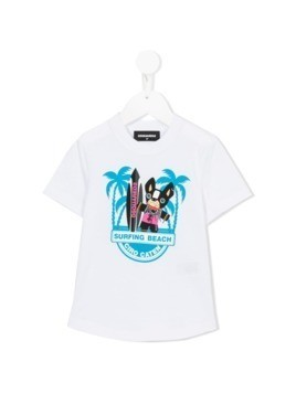 Dsquared2 Kids Surfing beach T-shirt - White
