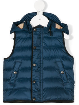 Burberry Kids hooded down waistcoat - Blue