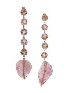 Jacquie Aiche 14kt rose gold Morganite And Carved Pink Tourmaline Leaf earrings