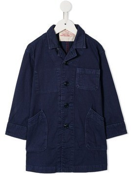 Denim Dungaree single-breasted fitted coat - Blue