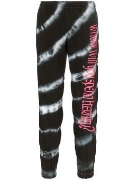 Ashley Williams tie dye slogan print cotton track pants - Black