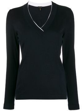 Escada slim-fit V-neck pullover - Blue