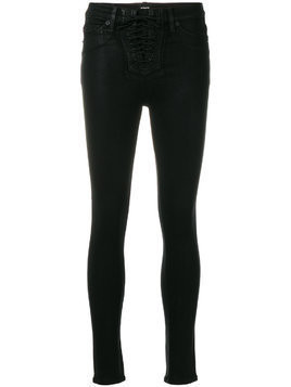 Hudson coated lace-up front skinny jeans - Black