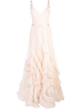 Marchesa Notte frilled detailed long gown - Pink