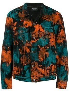 Mauna Kea paint printed denim jacket - Blue