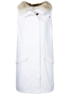 Yves Salomon Army hooded long gilet - White