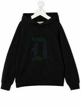Dondup Kids embroidered logo hoodie - Black