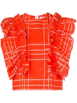 MSGM logo print ruffled blouse - Red