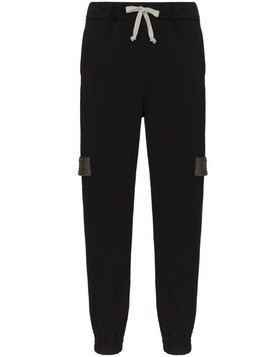78 Stitches contrast-strap track pants - Black