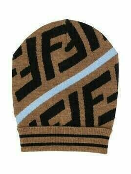 Fendi Kids Zucca intarsia-knit beanie hat - Brown