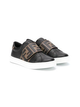 Fendi Kids logo strap sneakers - Black