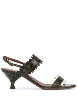 L'Autre Chose snakeskin effect 60mm sandals - Green