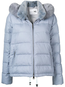 Manzoni 24 fur collar padded jacket - Blue