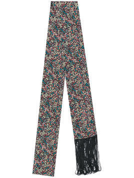 Twin-Set ditsy floral fringed skinny scarf - Black