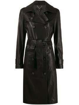 Arma leather double breasted coat - Black
