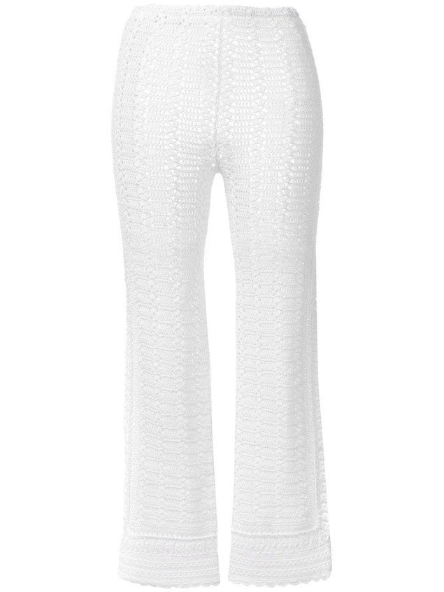 Alberta Ferretti crochet cropped trousers - White