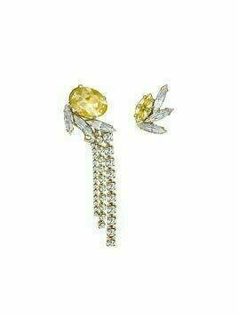 Anton Heunis asymmetric crystal-embellished drop earrings - Gold