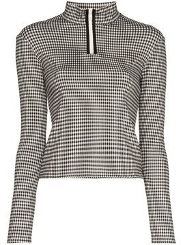 Sandy Liang gingham ski top - Black