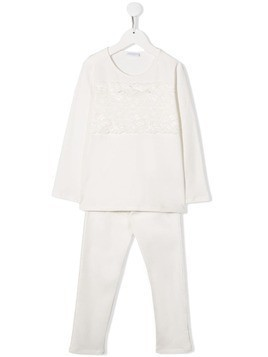 La Perla Kids lace panel pyjama set - White
