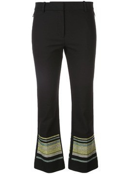 Derek Lam 10 Crosby Cropped Flare Trouser with Embroidered Hem - Black