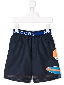 Little Marc Jacobs Mr Marc print swim shorts - Blue