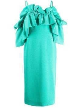 Edeline Lee ruffled cold shoulder dress - Green