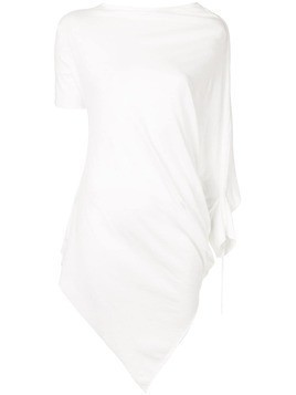 Masnada asymmetric gathered shirt - White