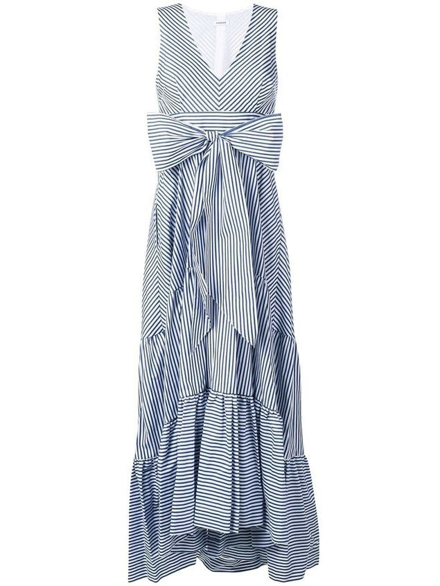 P.A.R.O.S.H. striped bow maxi dress - Blue