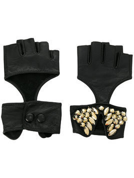 Karl Lagerfeld fingerless party gloves - Black