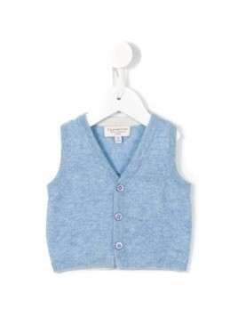 Cashmirino V-neck knitted vest - Blue