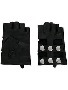 Karl Lagerfeld fingerless snap button gloves - Black